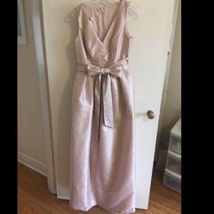 Alfred Sung dupioni bridesmaid dress, pearl pink